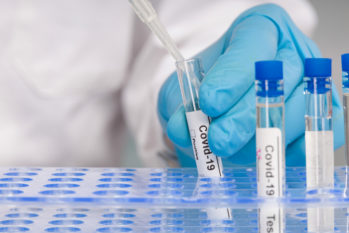 Doctor's hand in blue gloves Working with test tubes at virus analysis in a medical lab; Picture Source; MHA